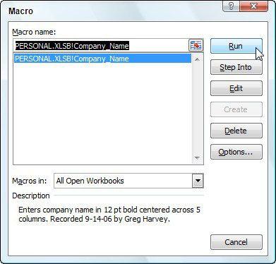 Selecionando a execução da macro na caixa de diálogo Macro.