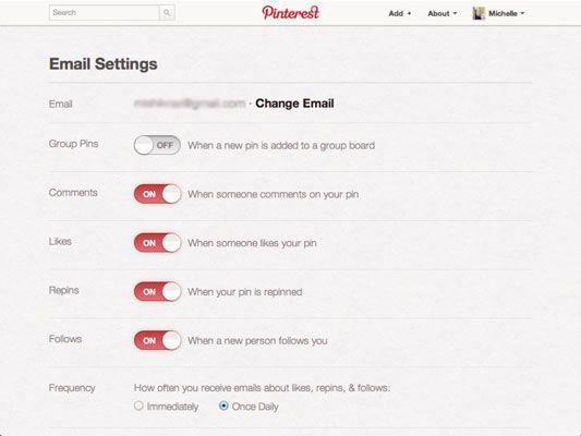 ���� - Como configurar seu e-mail Preferências de notificação no Pinterest