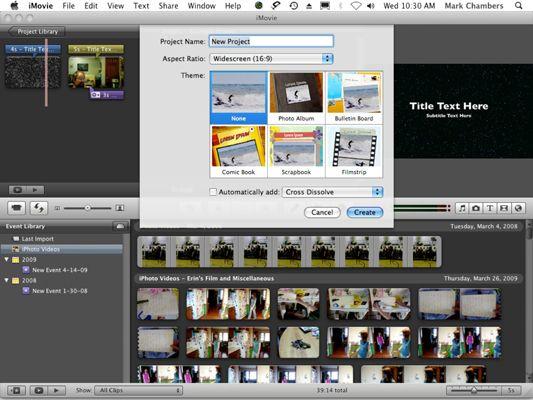 ���� - Como iniciar um projeto de filme com o iMovie 09