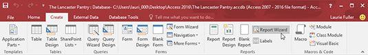 ���� - Como iniciar o Assistente de relatório no Access 2016