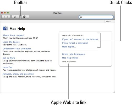 ���� - Como usar o Help Viewer Janela Mac OS X Snow Leopard