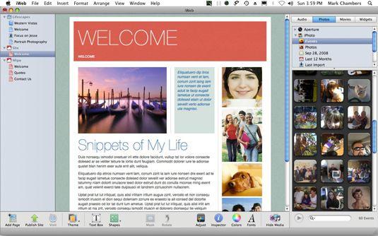 ���� - Como usar a janela iWeb Mac OS X Snow Leopard