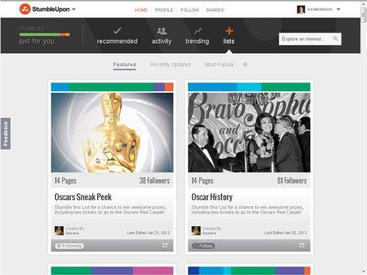 ���� - Como usar Monitoring, Seguir, e listas de compartilhamento em StumbleUpon
