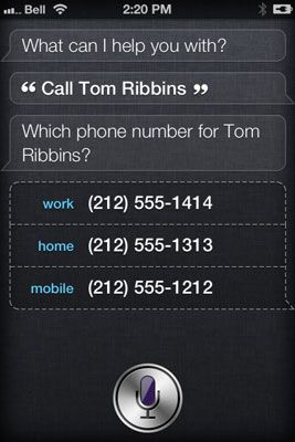 Diga Siri a pessoa que você deseja chamar. Siri pode perguntar para confirmar o número a discar (trabalho, casa,