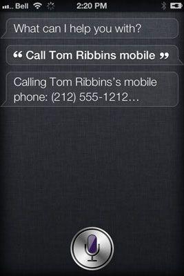 Especificar qual o número de telefone Siri deve discar.