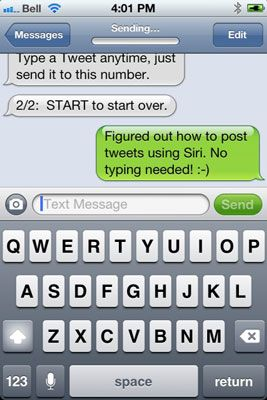 Siga as instruções para configurar o Twitter por SMS (mensagem de texto).