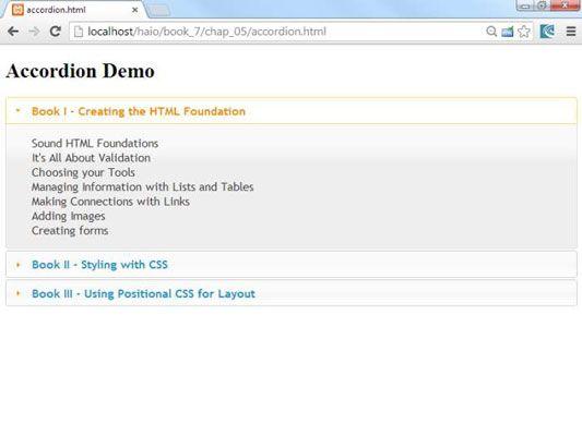 ���� - Como usar o acordeão Widget em AJAX para HTML5 e CSS3 Programação