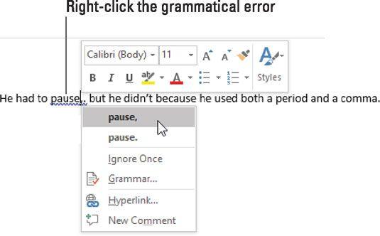 Um erro gramatical é sinalizado.