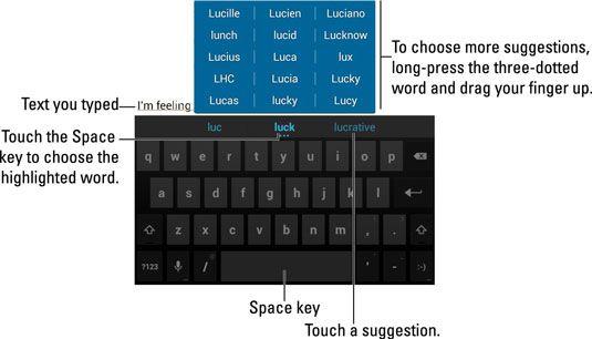 ���� - Como usar o Nexus 7 Texto Opções de correção