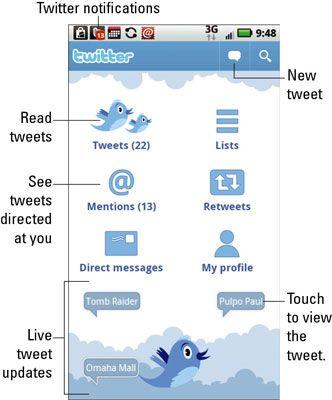 ���� - Como usar o Twitter em seu Droid X