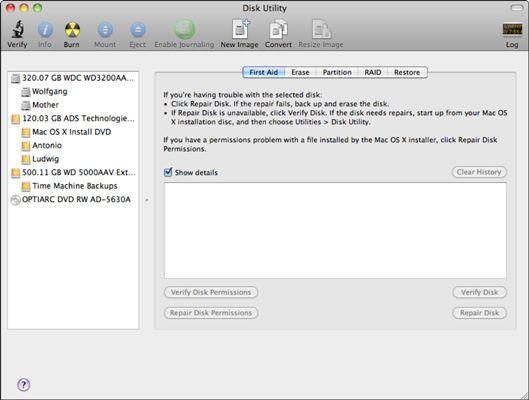 ���� - Como exibir informações sobre as partições e volumes no Mac OS X Snow Leopard