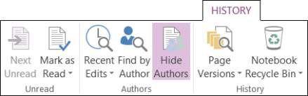 ���� - Como visualizar versões e Autores no OneNote