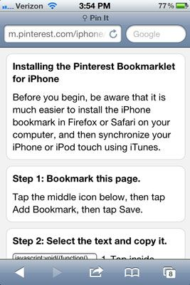 ���� - Instale o Móvel Bookmarklet com o Pinterest iPhone App