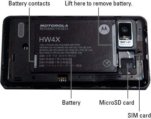 ���� - Instalar o cartão SIM do seu Droid Bionic e bateria