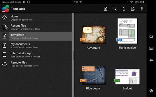 ���� - Kindle Fire HDX: Trabalhando com modelos no OfficeSuite Pro