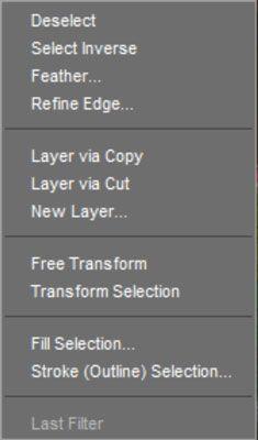 Um menu contextual para as seleções.
