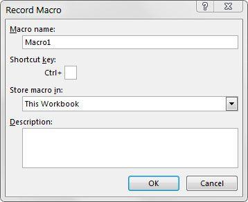 A caixa de diálogo Gravar Macro.