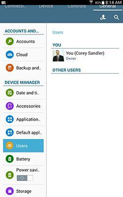 ���� - Fazendo separado ou restritos Perfis em um Samsung Galaxy Tab 4 NOOK