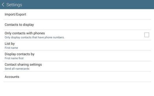 ���� - Gerir contactos no seu Galaxy Tab 4 NOOK