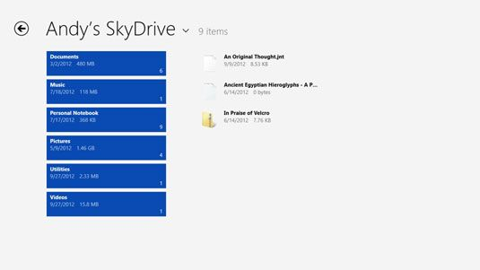 ���� - Gerenciar arquivos com o SkyDrive App em sua superfície