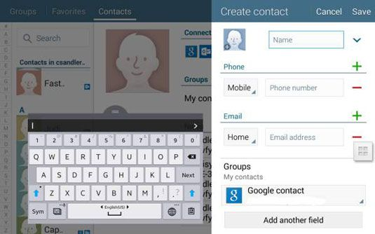 ���� - Manual de contatos para o separador 4 Nook app Contatos