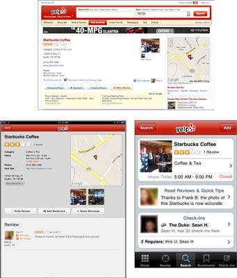 A página do serviço baseado em localização em um MacBook Pro, iPad e iPhone, respectivamente.