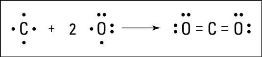 A formação de dióxido de carbono.