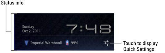 ���� - Visão geral das configurações rápidas sobre o Samsung Galaxy Tab