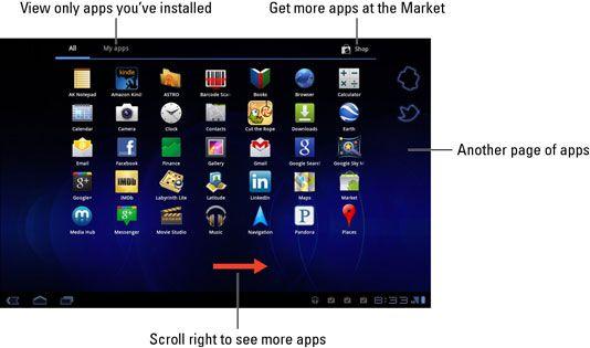 ���� - Visão geral do menu de aplicativos na tela Samsung Galaxy Tab Início