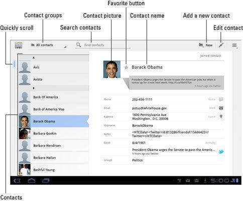 ���� - Visão geral das app Contatos sobre o Samsung Galaxy Tab