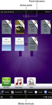 ���� - Visão geral da tela inicial em um Tablet Nook