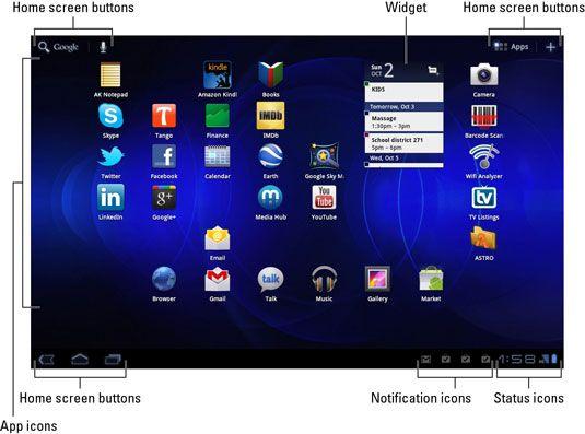 ���� - Visão geral da tela Samsung Galaxy Tab Início
