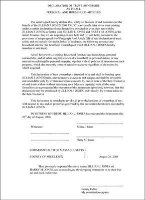 Declaração de Custódia propriedade como a todos os artigos pessoais e domésticos.