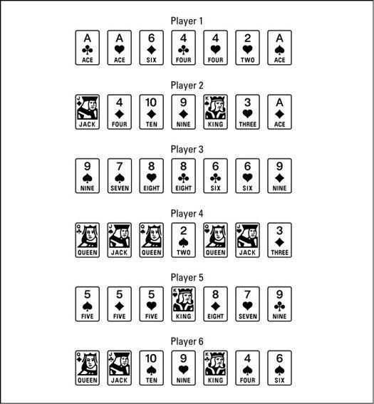 ���� - Jogar uma mão de Seven-Card Stud Poker