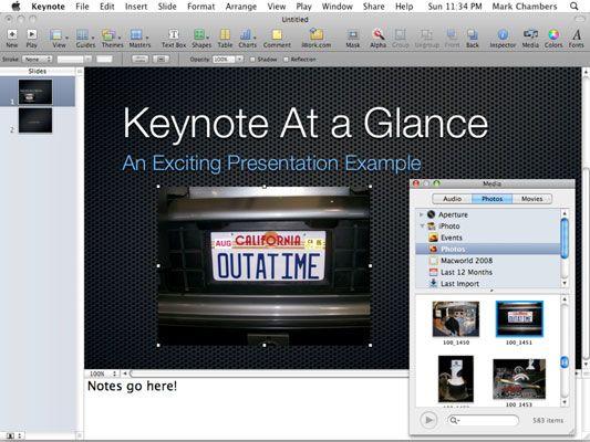 ���� - Notas e mídia do apresentador nos seus projectos Keynote
