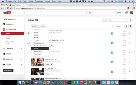 Excluindo vários vídeos do gerenciador de vídeos YouTube.
