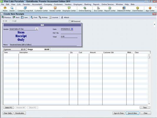 ���� - Gravando o recebimento de itens com QuickBooks 2011