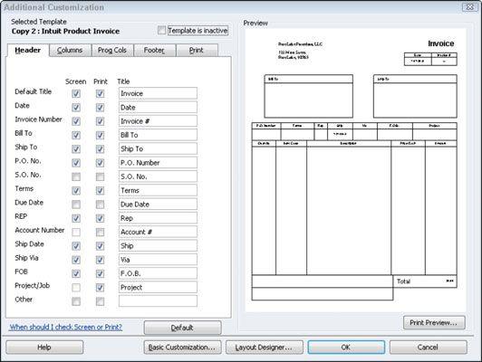 ���� - Comente adicionais Opções de personalização fatura no QuickBooks 2012