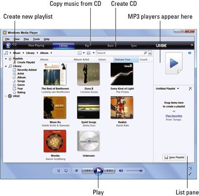 ���� - Executar o Windows Media Player