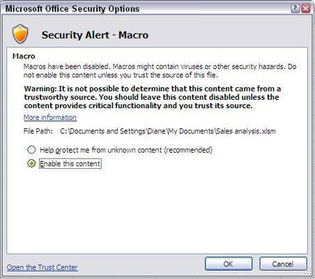 A caixa de diálogo Opções de segurança do Microsoft Office.