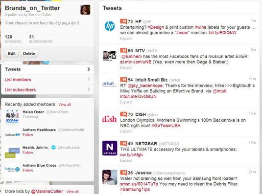 Configurar uma lista de Twitter com membros da indústria para obter insights sobre as tendências em seu mercado.