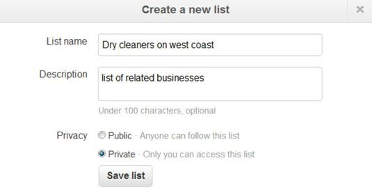 Criar uma nova lista de usuário no Twitter.