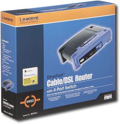 A Linksys (Cisco) router com built-in switch de 4 portas.