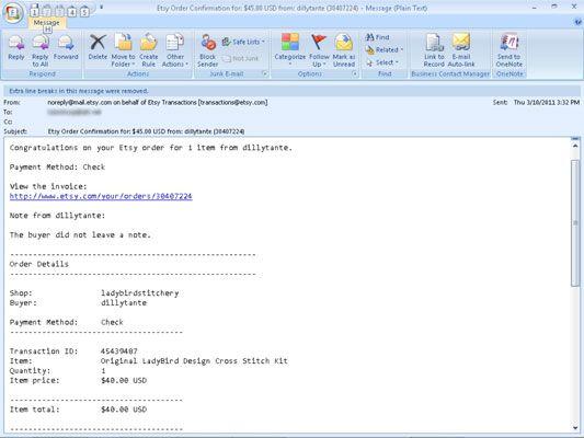���� - O envio de uma fatura Revisado para um Cliente Etsy