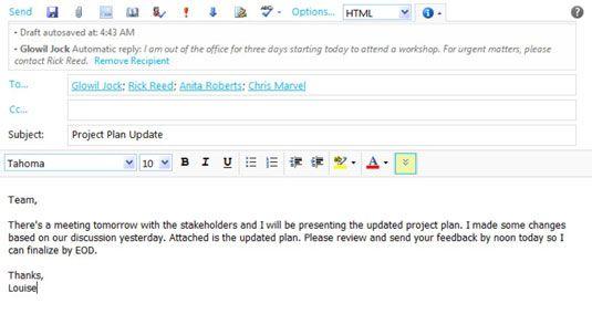 ���� - Configurar o seu fora de Notificação escritório no Outlook Web App