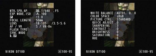 ���� - Tiro Modo de exibição de dados em seu D7100 Nikon