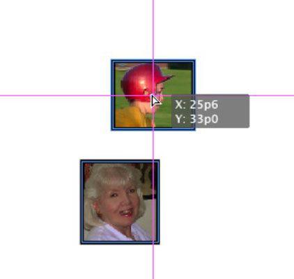Sabe quando o seu objecto é exactamente no centro da página quando uma mira guia aparece.