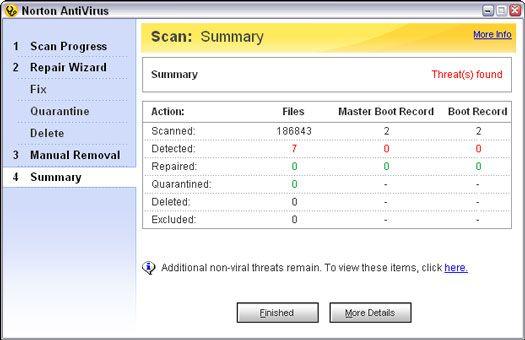 ���� - Tendo em Ação Quando o Norton AntiVirus não conseguir reparar um arquivo infectado