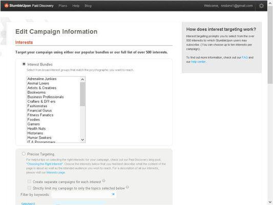 ���� - Seu público-alvo com uma campanha Descoberta StumbleUpon pago