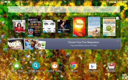 ���� - Parte inferior da tela inicial do Galaxy Tab 4 de NOOK